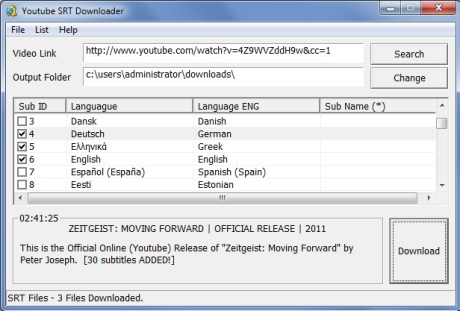 Capture d'écran Youtube SRT Downloader