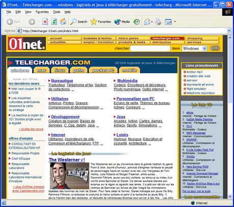 Capture d'écran Internet Explorer 6