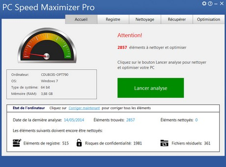 Capture d'écran PC Speed Maximizer