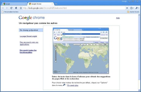Capture d'écran Google Chrome 18 Beta