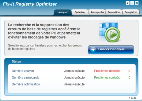 Capture d'écran Fix It Registry Optimizer