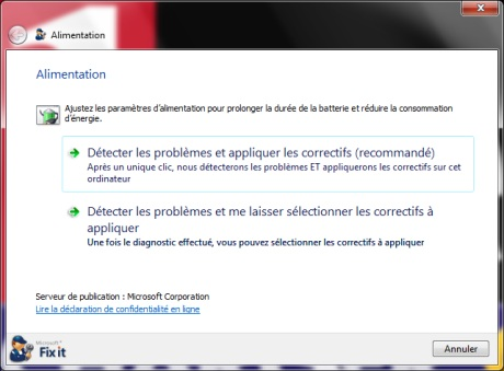 Capture d'�cran Microsoft Fix it