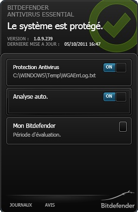 captures d 39 cran screenshots et images de bitdefender antivirus essential. Black Bedroom Furniture Sets. Home Design Ideas