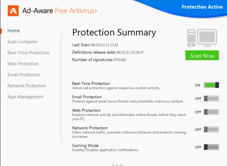 Capture d'�cran Ad-Aware Free Antivirus+