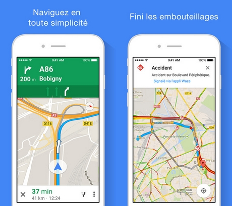 Capture d'écran Google Maps pour iPhone / iPad