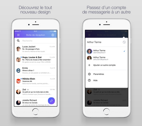 Capture d'écran Yahoo Mail pour iPhone / iPad