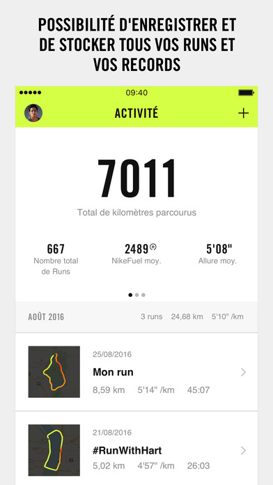 Captures d'écran, screenshots et images de Nike+ Run Club