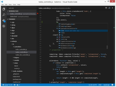 Capture d'écran Visual Studio Code