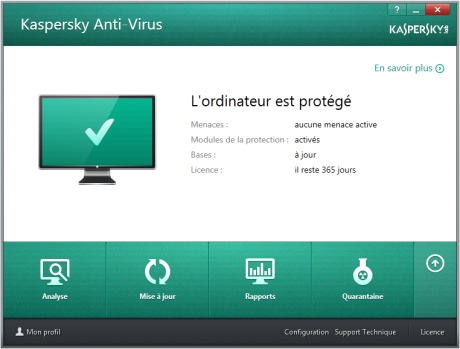 Capture d'écran Kaspersky Anti-Virus