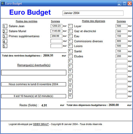 captures d 39 cran screenshots et images de euro budget familial. Black Bedroom Furniture Sets. Home Design Ideas