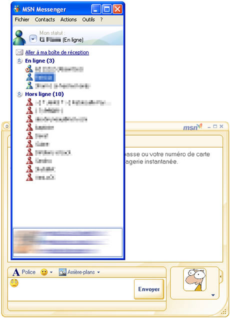 Capture d'écran MSN Messenger