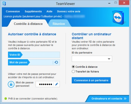 Capture d'écran TeamViewer 8