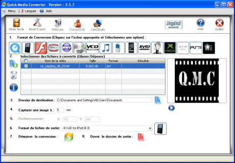 Capture d'�cran Quick Media Converter