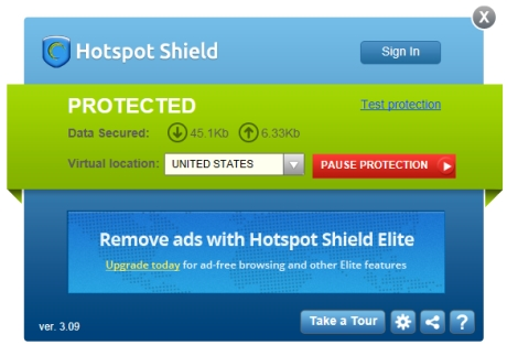 Capture d'écran Hotspot Shield