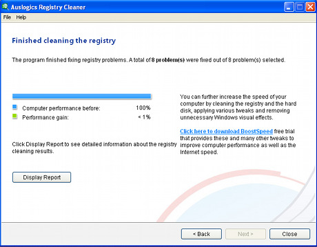 Capture d'écran Auslogics Registry Cleaner