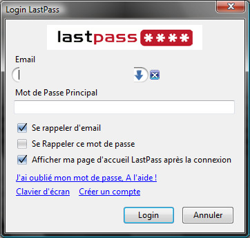Capture d'�cran LastPass Password Manager
