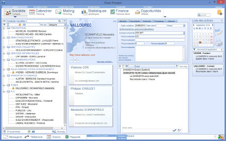 Capture d'écran CRM VisualProspect